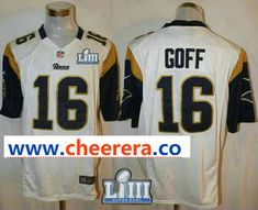 f75b26a5b Men s Los Angeles Rams  16 Jared Goff White 2019 Super Bowl LIII Patch Road  NFL Nike Game Jersey
