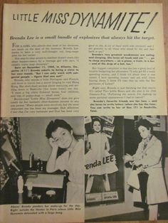 Brenda Lee, Full Page Vintage Clipping, Frankie Avalon
