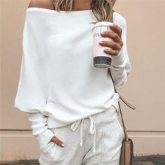 2019 Spring Women Knitted Long Sleeve Sweaters Sexy Solid Color Off Shoulder Pullovers Plus Size Women Tops Off Shoulder Sweater, One Shoulder Tops, Long Sleeve Sweater, Long Sleeve Tops, Plus Size Women's Tops, Womens Clothing Stores, Clothing Websites, Women's Clothing, Women's Fashion Dresses