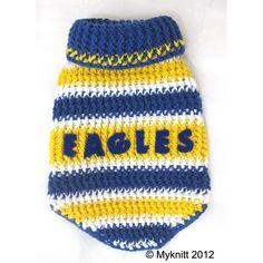 West Coast Eagles Australian Football Club Footy by myknitt #dogcostume #football #westcoasteagles #crochet #dogs #pets #petclothes