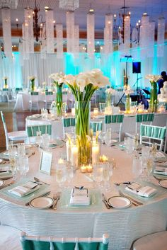 Beautiful Wedding Reception with Calla Lily Centerpieces