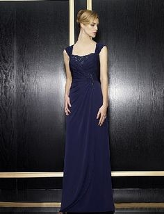 Long fancy square capped navy chiffon pleated beading Mother Of The Bride Dress MBD257126