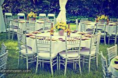 I find this wonderful for backyard or picnic style weddings. It's simple, outside, and not too formal.