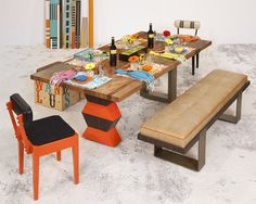 Split Personality. A mysterious union between the #dramatic and the #minimal. The Mirage #Table bridges the gap between tough and #luxe. As an artfully #designed #sophisticated statement in any space, it will be a guaranteed conversation starter. The warm Mirvana solid #hardwood with its' rich natural characteristics, deep #tangerine #lacquer and rich #ebony #veneer, boldly contrasts with the hard edge #geometric #structural #steel elements creating the perfect blend of yin and yang.