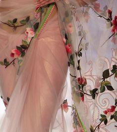 Net saree with satin petticoat. Rajdeep Ranawat Ivory Blush Ombre Net Saree with Velvet Patchwork Trendy Sarees, Stylish Sarees, Indian Dresses, Indian Outfits, Ethnic Outfits, Desi Wear, Net Saree, Bollywood Fashion, Saree Fashion