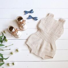 """""""Olli Romper"""" by Petite Coo. Chambray Pigtail set by Free Babes Handmade Pinwheel Bow, Chambray Fabric, Baby Hair Bows, Knitted Romper, Newborn Headbands, Boho Baby, Crochet Bikini, Hand Knitting, Baby Rompers"""