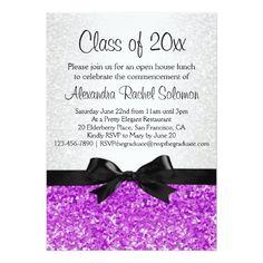 Purple/Amethyst Sparkle-look Graduation Invitation