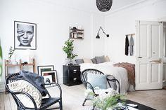 Black and white studio apartment Follow Gravity Home: Blog - Instagram - Pinterest - Bloglovin - Facebook
