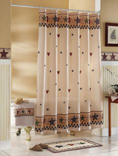 Primitive Country Star Bathroom Decor Star Berries Hearts Shower Curtain