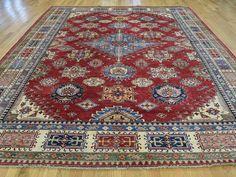 "Buy 9'6""x11'9"" Geometric Design Super Kazak Red Hand Knotted Oriental Rug #rug #rugstore #rugsale #arearug #rugcleaning #rugwash #rugshopping #rugrepair #carpetcleaning"