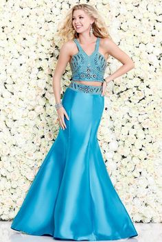 Turquoise Two-Piece Embellished Prom Dress 4039