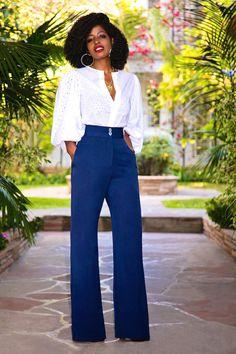 Style Pantry   Eyelet Bishop Sleeve Blouse + High Waist Wide Leg Pants