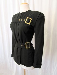 """Fabulous 1940's Designer Black Jacket w/ Gold Buckles by """"Frederick & Nelson of Seattle""""  Vintage"""