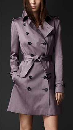 Burberry Mid-Length Cotton Sateen Trench Coat.