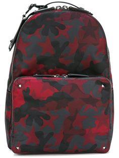 VALENTINO GARAVANI CAMUSTARS ROCKSTUD BACKPACK RED BLACK MEN LY0B0340-CA8-U37 #VALENTINO #Backpack