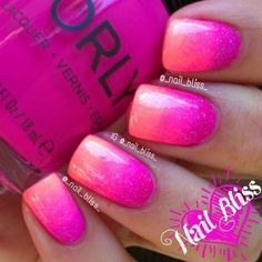 15 cute pink summer nail art designs, ideas, trends & stickers … - All For Hair Color Trending Pink Summer Nails, Hot Pink Nails, Pink Ombre Nails, Pink Glitter, Glitter Nails, Rose Nails, Nail Art Designs, Pedicure Designs, Pedicure Ideas