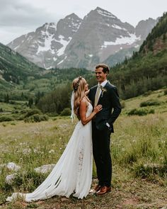 You keep me safe, I'll keep you wild... #GLLbride Tanner in our HOLLIE 2.0 gown in Aspen, Colorado | Grace Loves Lace #weddingdress