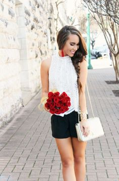 Lace Top and Black Shorts - Sunshine & Stilettos Blog (Instagram:@katlynmaupin)