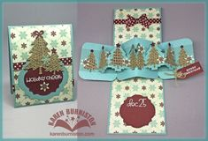 Karen Burniston using the Pop it Ups Twist Circle, Evergreen Pivot Card, Labels & Circles and Holiday Charms die sets by Karen Burniston for Elizabeth Craft Designs