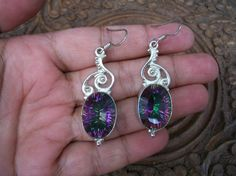 Large Sterling Silver Mystic Topaz Earrings by BollywoodBazaar, Topaz Earrings, Drop Earrings, Khaleesi, Mystic Topaz, Belly Button Rings, Jewlery, Sparkle, Gems, Sterling Silver