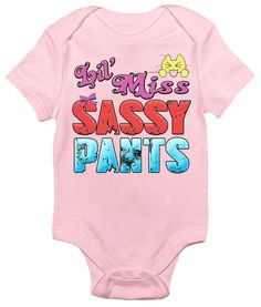Lil Miss Sassy Pants One-piece Baby Bodysuit for Girls