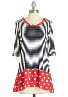Me and Unique Top in Bright. Whatever the occasion, this navy-and-white striped top is your trusty sidekick - comfortable and ready for infinite style possibilities! #multi #modcloth