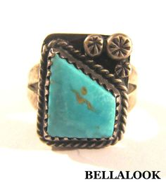 VINTAGE OLD PAWN FRED HARVEY ERA STERLING SILVER AND TURQUOISE RING 6 SIZE 5.6g #OLDPAWN