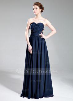 A-Line/Princess Sweetheart Floor-Length Chiffon Evening Dress With Ruffle Beading (017019741) - JJsHouse