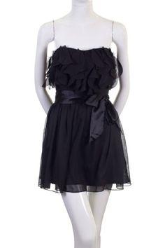 BESTSELLER! Do & Be Scalloped Ruffles Lightly Pleated Flowy Strapless Dress Black $14.99