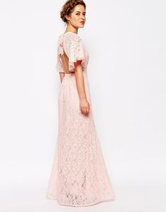 John Zack Petite All Over Lace Maxi Dress With Keyhole Front And Open Back Detail $83.00