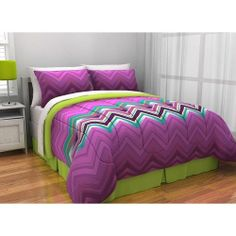 NEW Bed Bag Twin XL Full Queen Purple Green Zig Zag 8 pc Comforter Sheets Set #Unknown #Unknown