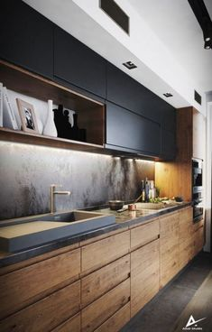 Idée cuisine avec meuble haut et décrocher plafond avec spot – Carrelage cuisine – Die schönsten Einrichtungsideen - Modern Kitchen Room Design, Luxury Kitchen Design, Home Decor Kitchen, Interior Design Kitchen, Kitchen Ideas, Best Kitchen Designs, Kitchen Trends, Kitchen Layout, Industrial Style Kitchen