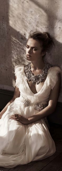 Soft & Romantic Jenny Packham white gown with statement necklace