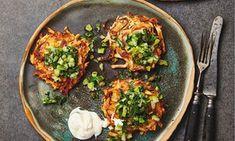 Yotam Ottolenghi's celeriac rösti with caper and celery salsa - 2 celeriac recipes - TheGuardian Yotam Ottolenghi, Ottolenghi Recipes, Vegetarian Lunch, Vegetarian Recipes, Healthy Recipes, Vegetarian Options, Savoury Recipes, Savoury Dishes, Vegan Meals