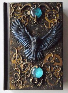 Notebook, Journal, Tagebuch mit Polymer Clay Abdeckung, Eule, Uhr, Gothic, Fantasy, 100 leere Blätter
