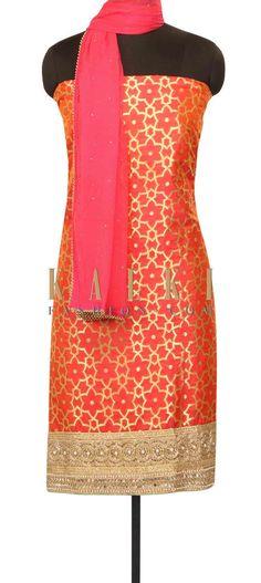 Pink unstitched suit in embroidered hem line only on Kalki