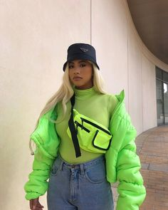 lime green puffer jacket and green turtle neck sweater with jeans Neon Outfits, Mode Outfits, Casual Outfits, Fashion Outfits, Womens Fashion, Casual Jeans, Party Outfits, Fashion Hats, Ladies Fashion