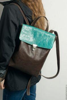 Купить Рюкзак бирюзовый кожаный коричневый из натуральной кожи под А4 - тёмно-бирюзовый
