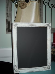 Painted Frame made into chalkboard..Love the rustic look!!