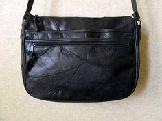 Crossbody Messenger Bag zwart satchel vintage 80s door MySoftParade