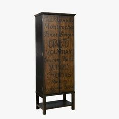 Create a focal point for your wine collection in a minimal amount of floor space. This wine cabinet features two drawers, stemware holders and three shelves behind the two hand-painted doors. Wine names adorn the doors in a friendly black and wood tonecolor scheme.