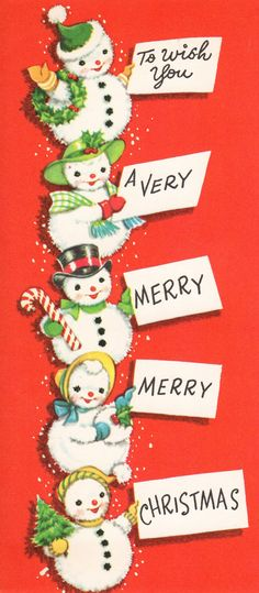 To wish you a very merry, merry Christmas! #snowmen #vintage #Christmas #cards