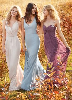 Style 5624 Kimberli Hayley Paige Occasions bridesmaids dress - (Left) Blush chiffon over Cashmere lining A-line bridesmaid gown, draped cross over V-neckline, natural waist with pleated skirt, beaded strap detail at back.Purchase a color swatch here. Country Bridesmaid Dresses, Formal Bridesmaids Dresses, Prom Dresses 2017, Wedding Party Dresses, Girls Dresses, Party Gowns, Formal Dress, Boho Bridesmaids, Lace Wedding