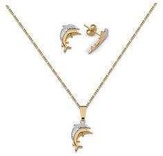 Conjunto de collar, aretes y dije enchapado en oro 18 kt en dos tonos Código: 700 88604