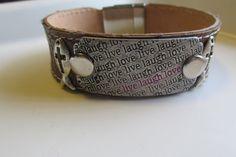 Men's Leather Bracelet LiveLaugh and Love by CASSELIZADESIGNS