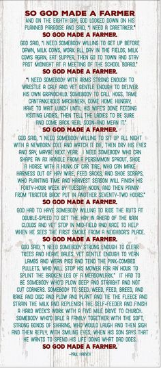 So God Made A Farmer Paul Harvey Wood Sign - Christmas, Father's Day, Mother's Day, FFA gift by HeartlandSigns on Etsy