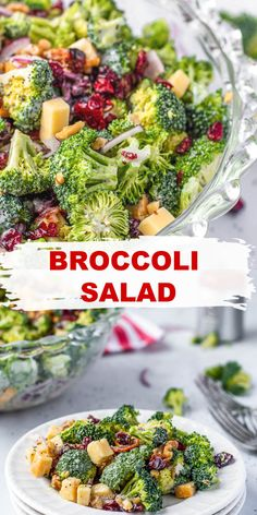 Broccoli Salad with dried cranberries, or Craisins, bacon, cheddar, and gouda tastes amazing! Add in red onions and walnuts and cover in a creamy poppyseed broccoli salad dressing for an out of this world holiday side salad perfect for Thanksgiving! #BroccoliSalad #FlavorMosaic Best Salad Recipes, Salad Recipes For Dinner, Dinner Salads, Delicious Recipes, Real Food Recipes, Easy Recipes, Great Recipes, Cooking Recipes, Healthy Recipes