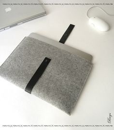 11 or 13 inch Mac Book Air sleeve Macbook Air case FUSION german wool felt and leather. $69.00, via Etsy.