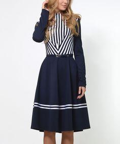 Navy Blue & White a-Line Dress