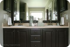 Bathroom Vanity {A Makeover} with Rustoleum Countertop Transformations and Cabinet Transformations in Tudor.
